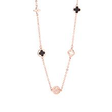 AAA级锆石项链--黑色四叶草(香槟金)