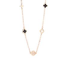 AAA级锆石项链--黑色四叶草(玫瑰金)
