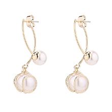 镀真金仿珍珠时尚耳环(14K金)