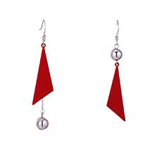 镀真金时尚个性流苏耳环(红色)