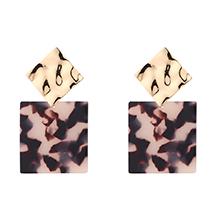 时尚正方形几何耳环(黑色)