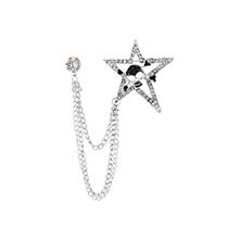 韩版时尚五星骷髅头胸针(白K)