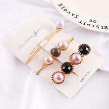 韩版复古时尚珍珠发夹(黑色)