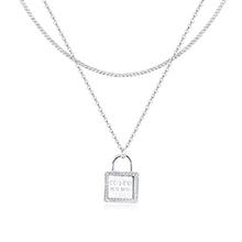 AAA级锆石项链--心锁(白金)