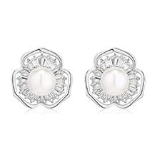 AAA级锆石耳环--花蕊珍珠(白金)