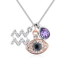 奥地利水晶十二星座项链--水瓶座(藕荷紫)