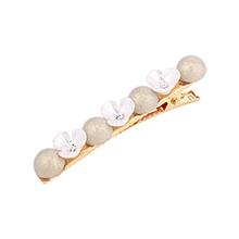 韩版复古简约花朵珍珠发夹(白色)