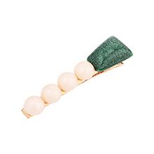韩版简约清新风珍珠发夹(绿色)