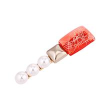 韩版时尚心情珍珠发夹(红色)