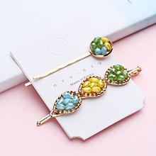 韩版清新简约少女心发夹(绿+黄+蓝)
