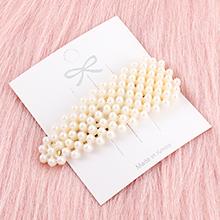 韩版简约清新长三角形珍珠发夹