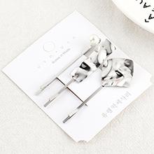韩版复古时尚荷叶发夹套装(白K)