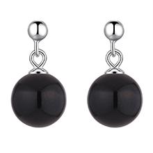 S925纯银耳环--明珠(黑色)
