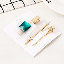 韩版简约清新方块海星发夹套装(青色)