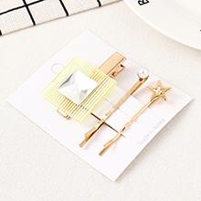 韩版简约清新方块海星发夹套装(白色)