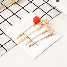 韩版简约时尚海星发夹套装(红色)