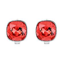 奥地利水晶耳环--方晶(水莲红)