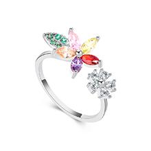 AAA级锆石戒指--花草树叶(白金+彩色)