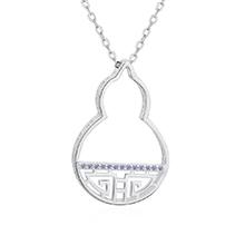 AAA级锆石项链--吉祥葫芦(白金)