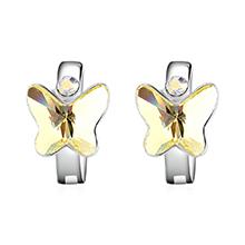 奥地利水晶耳环--比翼双飞(淡黄)