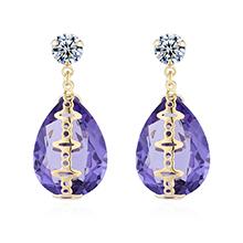 奥地利水晶耳环--心痕(藕荷紫)