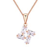 AAA级锆石项链--转轮花(玫瑰金)