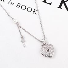 AAA级锆石项链--心房钥匙(白金)