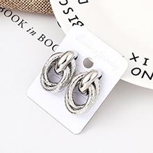 欧美时尚个性纹路耳环(白K)