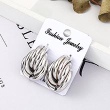 欧美时尚夸张个性小气筒耳环(白K)