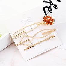 韩版时尚气质小清新平底锅发夹套装(橙黄)