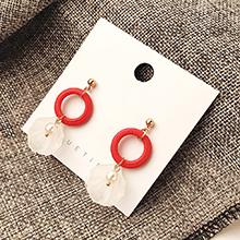 韩版时尚简约小清新荷叶耳环(红色)