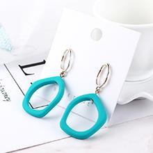 欧美简约小清新时尚椭圆圈耳环(青色)