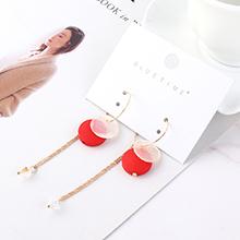韩版时尚气质个性流苏耳环(红色)