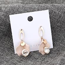 韩版简约气质冷淡风荷叶耳环(粉色)