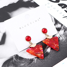 欧美复古时尚简约倒三角耳环(红色)