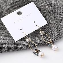韩版时尚小清新风镀真金方晶镂空耳环