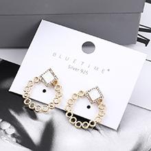 欧美时尚个性镀真金小圆圈镂空S925银针