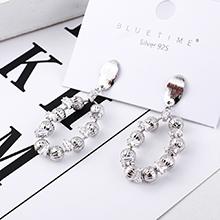 韩版时尚气质镀真金小圆球镂空S925银针(14K金)白