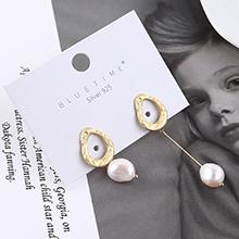 欧美时尚个性冷淡风不对称珍珠S925银针