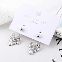 欧美复古时尚镀真金心形珍珠S925银针