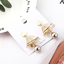 韩版时尚个性镀真金网格三角S925银针(古铜)