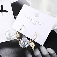 韩版时尚夸张百搭镀真金树叶水晶球S925银针