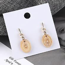 韩版百搭时尚个性圆木螺旋状耳环(白色)