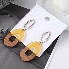 韩版冷淡风时尚简约镂空木头耳环(黄色)