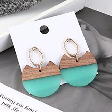 欧美时尚冷淡风半圆木耳环(青色)