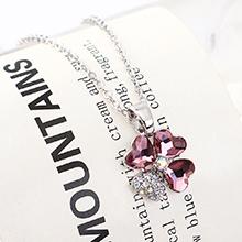 奥地利水晶项链--魅力四叶花(古典粉红)