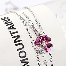 奥地利水晶项链--魅力四叶花(紫红)