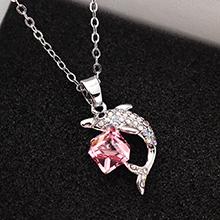 奥地利水晶项链--海豚方晶(浅玫红)