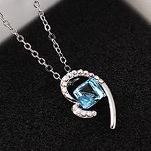 奥地利水晶项链--心晶(海蓝)