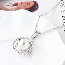 进口水晶项链--花蕊宝珠(白色)